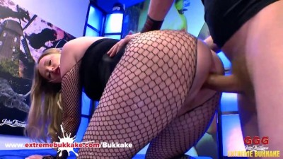 Curvy Hottie Slut Rides Cock Cowgirl in Body Stocking - Extreme Bukkake