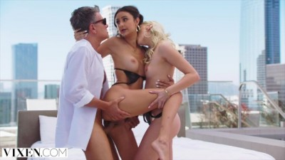VIXEN Kenna James & her BF have Naughty Sensual Threesome with Eliza Ibarra