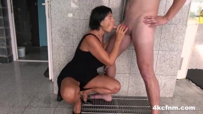 Hot Mature Fucked Up Granny Plays With My Big Cock By The Pool
