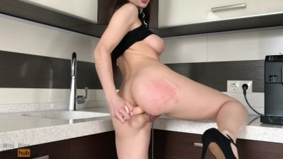Curvy 20 Yo Teen Slut Preparing Anal for your Big Dildo - Mini Diva