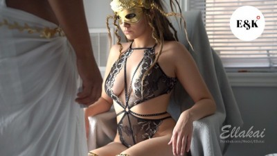 Slutty Hottie Babe in Medusa Halloween Costume Seduces Strong Roommate Boy - EllaKai