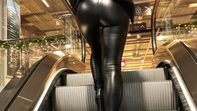 Sexy Hot Girl with Latex Leggings Searching for a Christmas Tree!