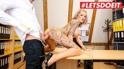 LETSDOEIT - Tattooed Slut German Secretary Fucks Boss for Salary Raise