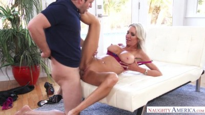 Naughty America Blonde Horny MILF Emma Starr Fucking in the Couch