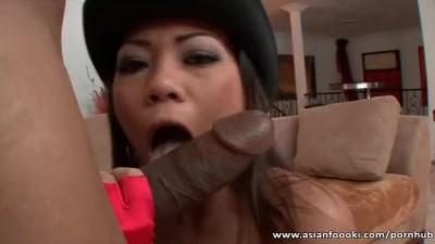 Stunning Escort Asian Babe Rides Big Black Cock