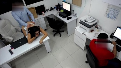 Hottie Slut Latin Girl Boss Fucks her Coworker next to the Assitent