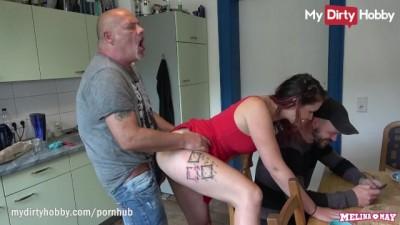 MyDdirtyHobby - Cheating Redhead Slut Babe Fucks Older Guy in Front of her Man