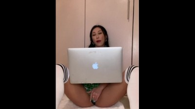 Sexy chick doing online lessons comforting herself