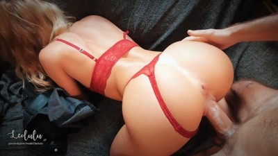 Sexy Big Ass Girlfriend in Red lingerie Cute Fuck & Squirts!!