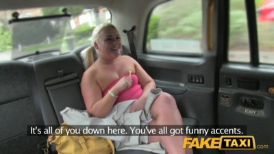 Fake Taxi - Big Horny Blonde Sucks dick and Rough Fucking in Taxi
