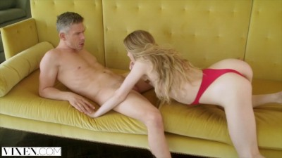 Blonde sexy bitch makes her man happy