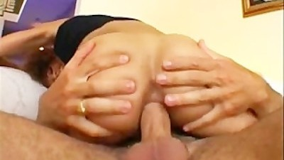 Hot black chick gets a white dick in it