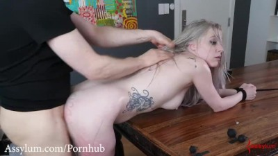 Hot little sexy blond gets a painful rough anal pounding