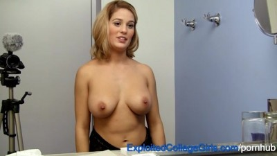 Busty Blonde First Timer Fucked and Facialed Cumshot