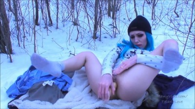 Naughty Russian Girl Solo Masturbates in Winter Forest