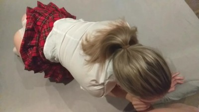 Sexy Teen Girlfriend in schoolgirl outfit, blowjob and doggystyle
