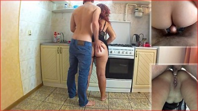 Naughty Stepson anal sex with busty stepmom in the kitchen