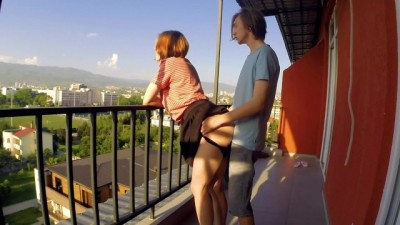 Russian couple sensual minutes on the balcony