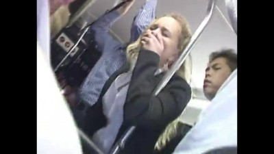 Blonde busty girl to abuse orgasm on bus