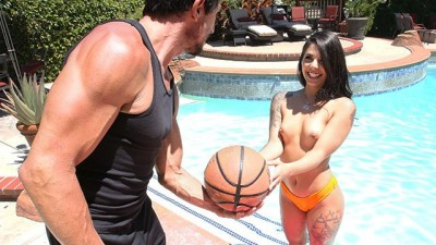 Naughty Gina Valentina Poolside Fuck With Large Neighbor