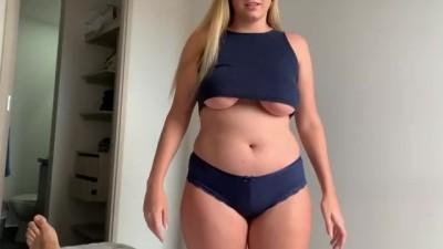 Chubby horny step-siscaughts hus step-brother masturbating