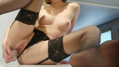 Horny Brunette Assistant's New Toy