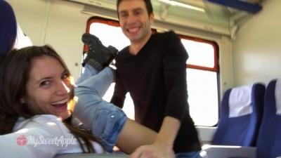 Amateur Couple Risky Sex on a Train - MySweetApple