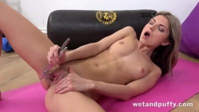 WetAndPuffy - Gina Gerson solo masturbates with a glass dildo
