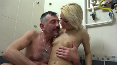 The old man is banging the petite blonde