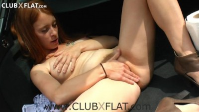 Slut redhead, unshaven cunt fingering herself in public