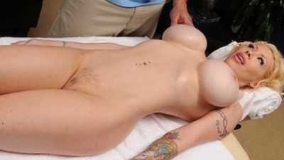 Blonde hot Candy Manson is oil  & fucked by her masseur