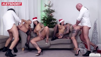 Christmas Orgy with Stunning Busty Teens in a German Office