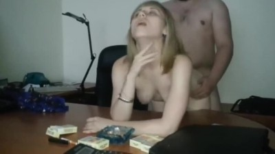Hot Blonde Husband Watch like his Boss Fuck his Wife at Work