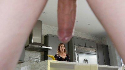 MILF Mommy Helps On Alone Stepson's Stubborn Erection