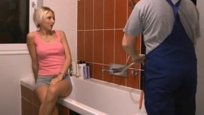 Austrian bitch who seduces the master of the bathroom repairman