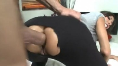 Two horny brunettes anal play with two big booty white dicks