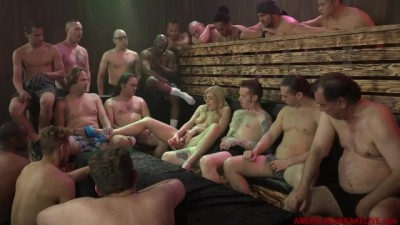 Bukkake with 18 horny guys facial cute american sexy blonde