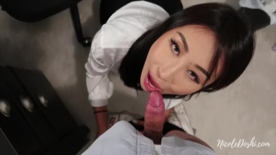 Hot Asian Secretary Sucks and Fuck in Office