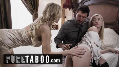 PURE TABOO Kinky Blonde Step-Mom & Slutty Step-Daughter Interview Daddy