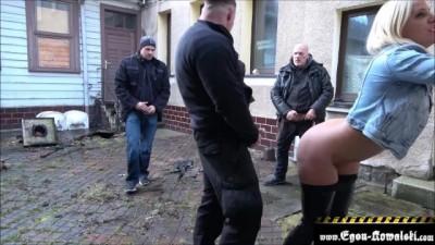 Fat Ass German Slut Cumming Horny guys in Public - Spermawalk