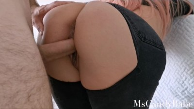 Sensual Hot Fuck in Ripped Jeans Finishing - During Quarantine POV