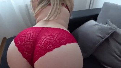 Sexy Big Butt in stockings and through red panties