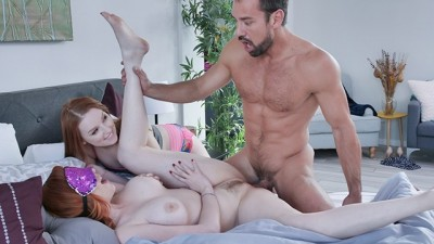 Redhead Curvy Innocent Step Daughter and MILF Mom Fuck by Step Dad