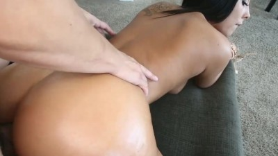 Cumming on the big round ass babe