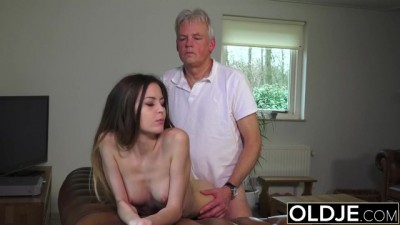 Oldje - Beauty Hot Babysitter Pussy Fucked by Old Man & Swallows Cum