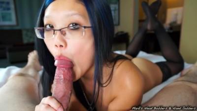 Sexy Petite Asian Girl Edges Stiff Cock to a Massive Cumshot!