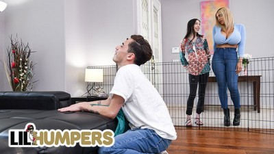 LIL Humpers - Busty Sexy Blonde Amber Alena found a Huge Cock to Play