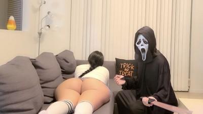 On Halloween Home alone Big Ass Schoogirl SLUT get Fucked by Intruder.. Forbidden Sex